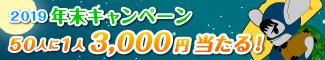 年末キャンペーン 50人に1人ギフト券3,000円が確実に当たる!